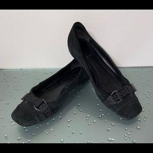 Fendi Black Suede Leather Flats Shoes Size 39/9
